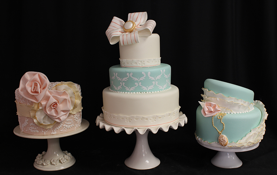 Vintage Teal Wedding Cake
