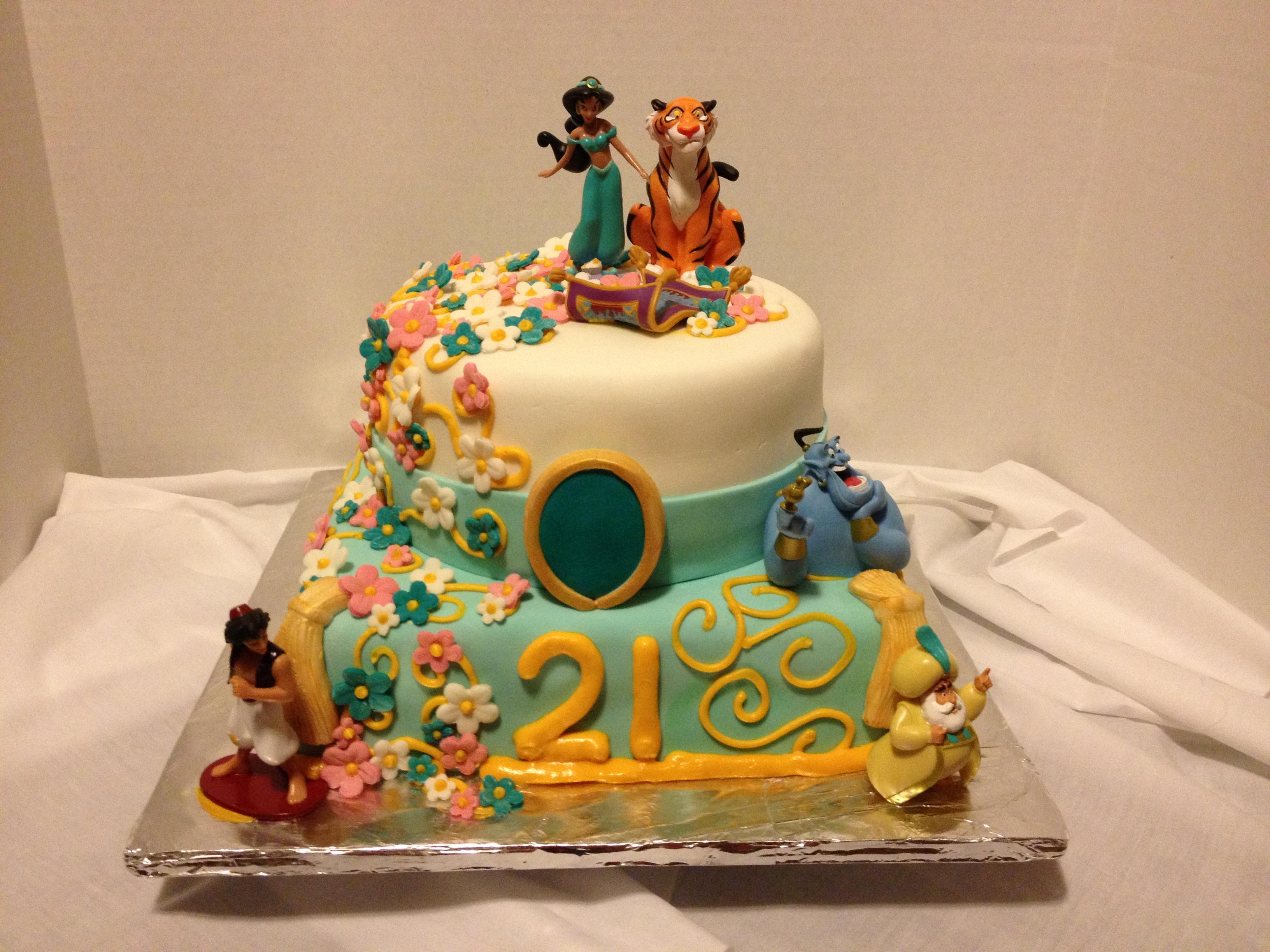 Marvelous 7 Princess Jasmine Birthday Cakes Design Photo Aladdin Princess Personalised Birthday Cards Arneslily Jamesorg