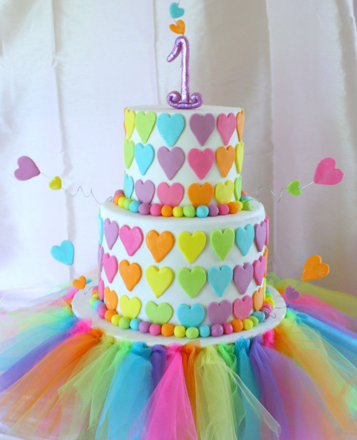 Remarkable 11 Colorful Birthday Cakes For Girls Photo Girls Rainbow Funny Birthday Cards Online Overcheapnameinfo