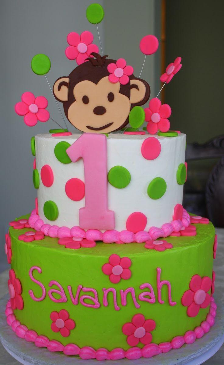 12 Baby Girls Monkey Birthday Cakes Photo Monkey Baby Shower Cake