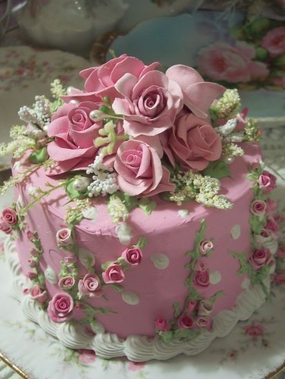 Shabby Chic Princess Birthday Cake Via Beautiful Pink Rose
