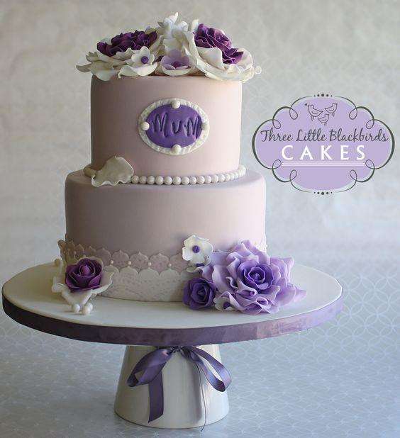 Stupendous 10 Elegant Rose Birthday Cakes For Women Photo Elegant Purple Funny Birthday Cards Online Overcheapnameinfo