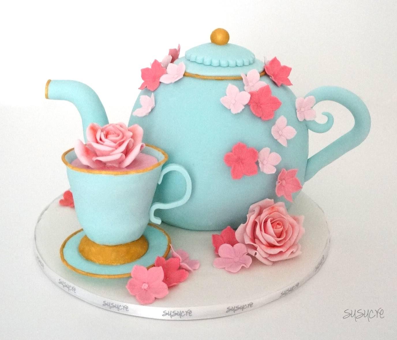 Astounding 12 Teapot Birthday Cakes Easy Photo Teapot Happy Birthday Cake Funny Birthday Cards Online Benoljebrpdamsfinfo