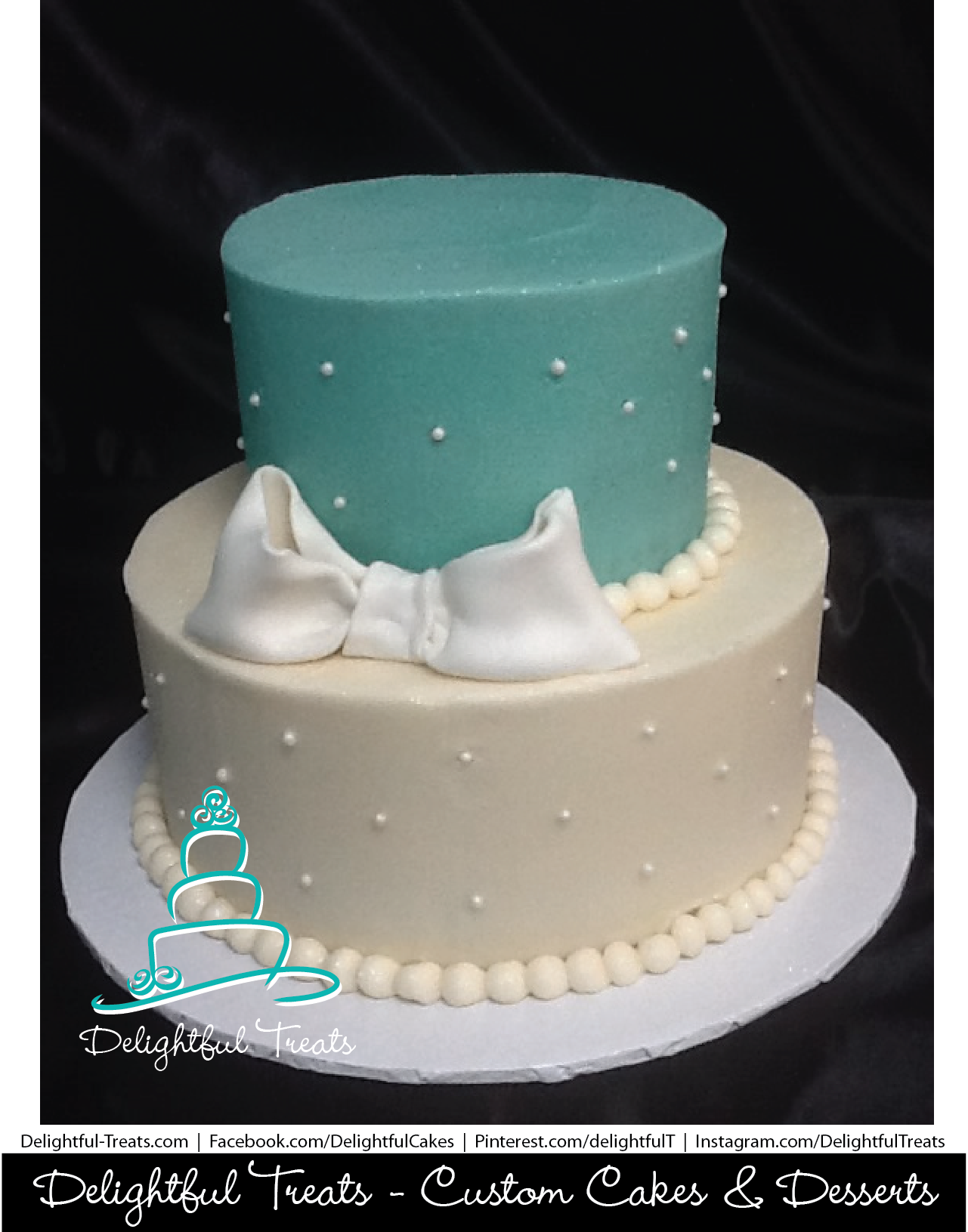 Teal And White 2 Tier Birthday Cake