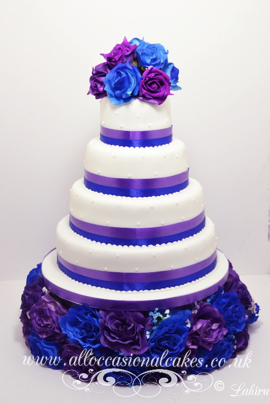 5 Pro Blue Purple Wedding Cakes Photo - Blue and Purple Flower ...