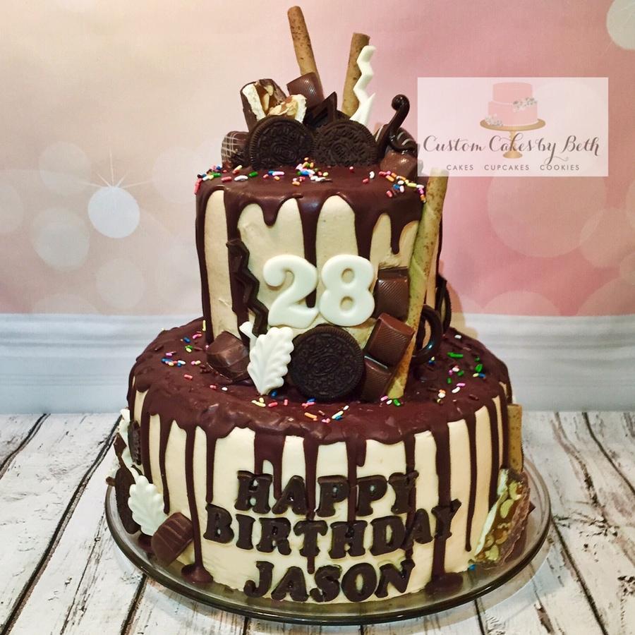 Birthday Cake With Chocolate Ganache Drip