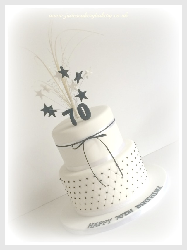 Black And White 70th Birthday Cake