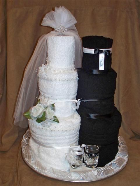 bridal shower towel wedding cake