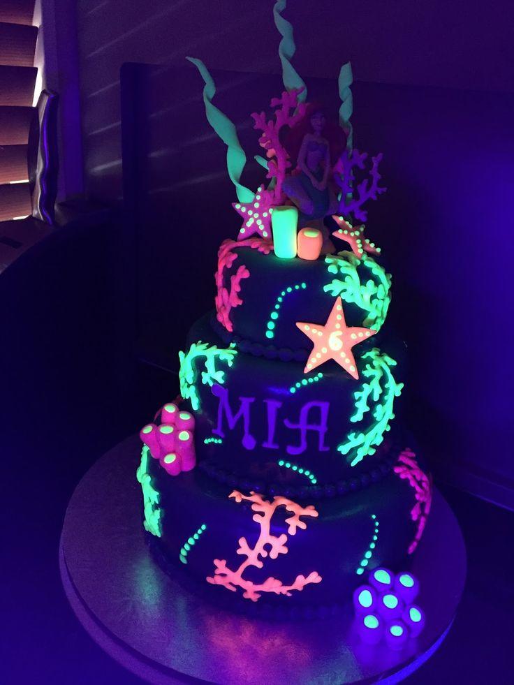 12 Glow Party Butterfly Cakes Photo Neon Birthday Cake Ideas Neon