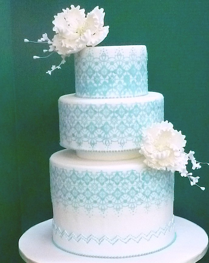 12 Blue With Lace Wedding Cakes Photo Navy Blue Lace Wedding Cake