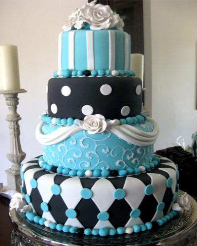 13 Turquoise Diamond Black And White Cakes Photo - Turquoise Black ...