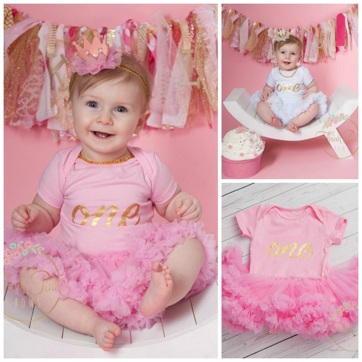Baby Girl 1st Birthday Smash Cake Outfit