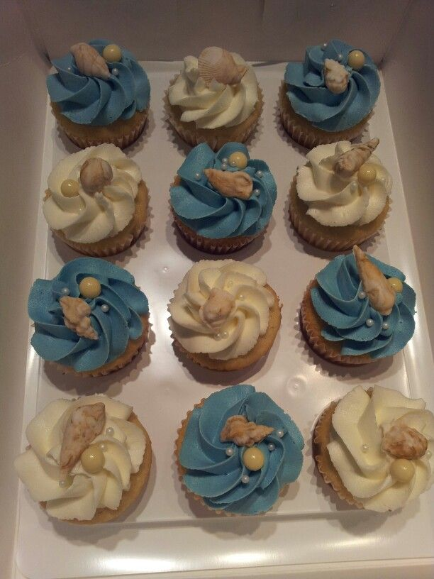 beach themed bridal shower cupcakes