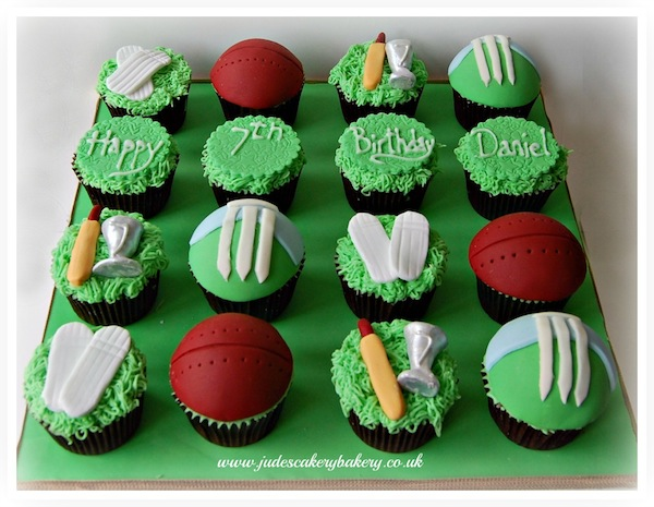 Cricket Birthday Cake Via Themed Cupcakes