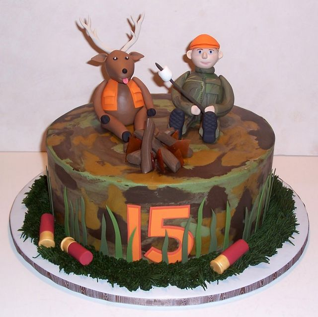 Hunting Cakes With Name Photo Deer Themed Birthday Jpg 640x639