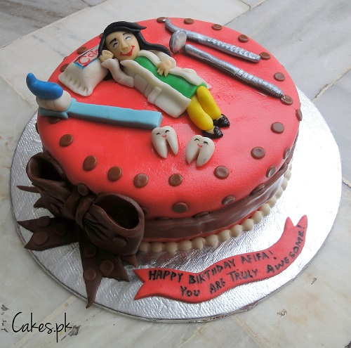 Dentist Themed Birthday Cake Image