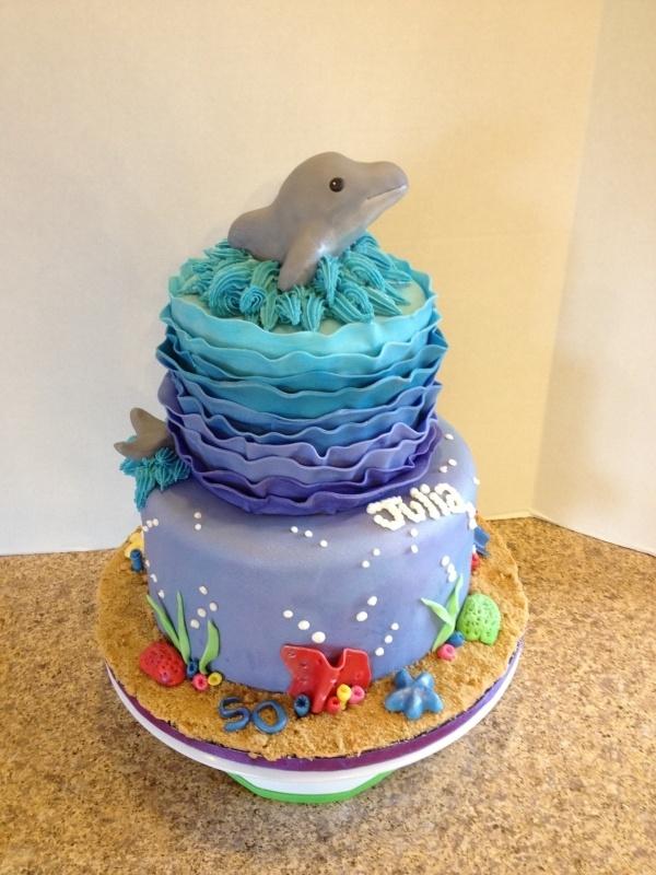 Fine 6 Dolphin Designed Birthday Cakes Photo Dolphin Birthday Cake Funny Birthday Cards Online Necthendildamsfinfo