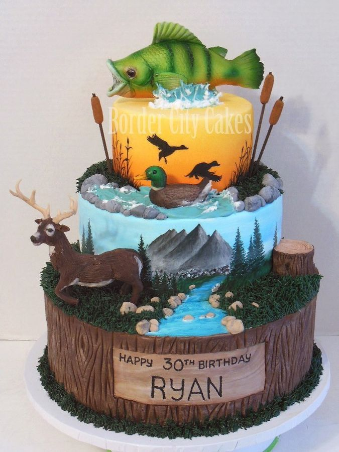 Cool 10 Outdoor Boys Birthday Cakes Photo Hunting And Fishing Cake Funny Birthday Cards Online Eattedamsfinfo