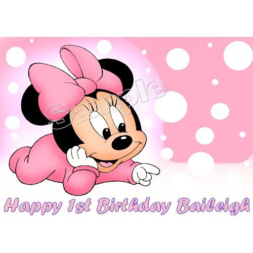 Enjoyable 10 Edible Baby Minnie Mouse Sheets For Cakes Photo Minnie Mouse Funny Birthday Cards Online Necthendildamsfinfo