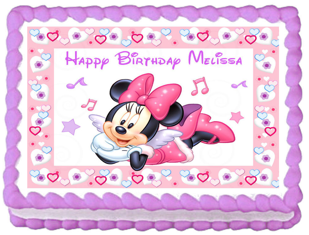 Pleasing 10 Edible Baby Minnie Mouse Sheets For Cakes Photo Minnie Mouse Funny Birthday Cards Online Kookostrdamsfinfo