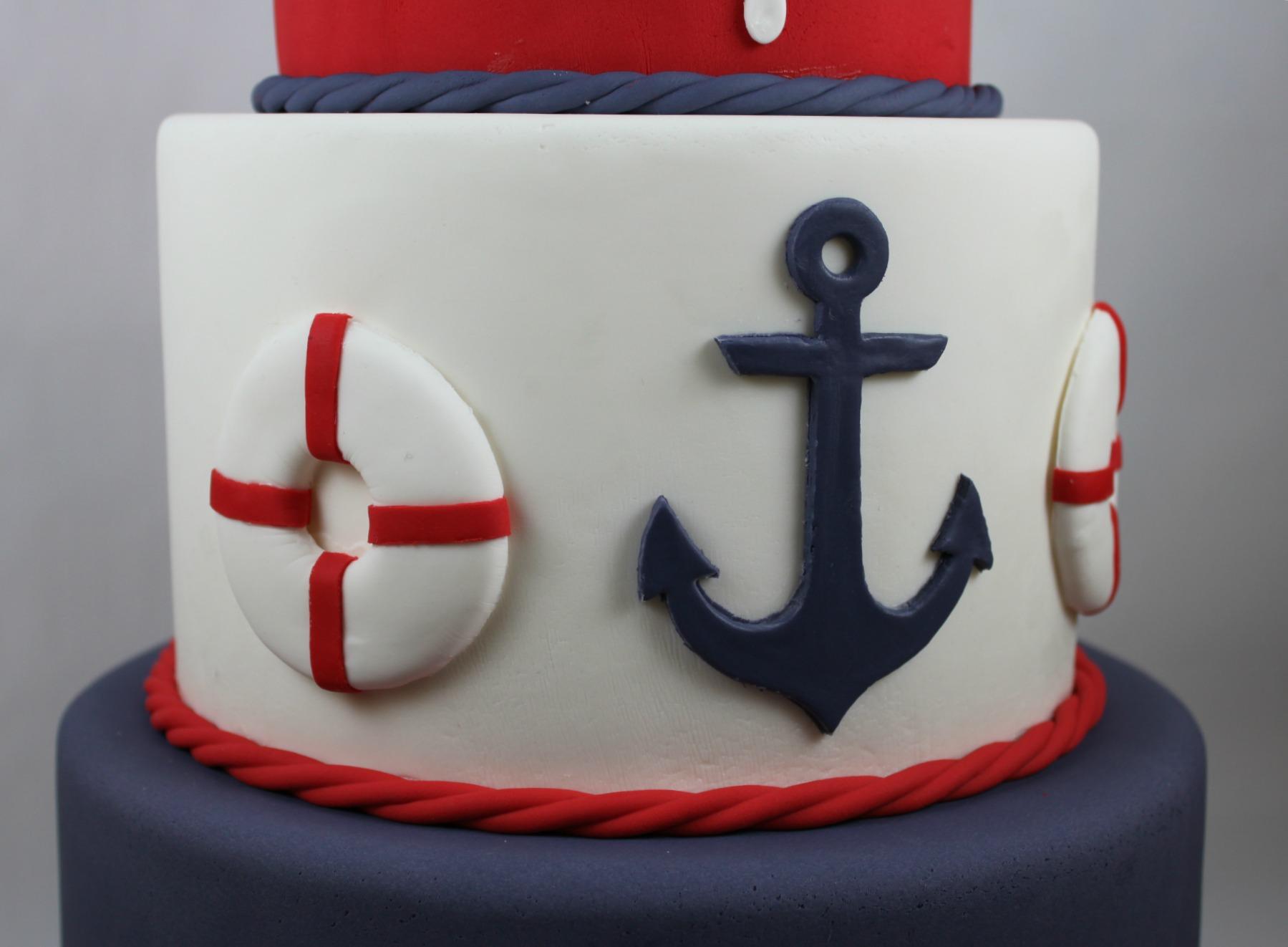 11 Anchor Fondant Cakes Photo Anchor Birthday Cake Nautical Baby