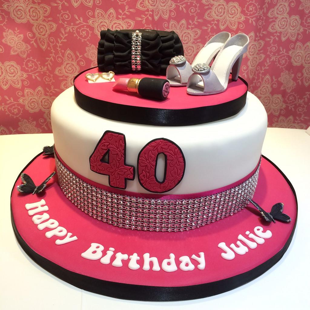 Pink And Black 40th Birthday Cake