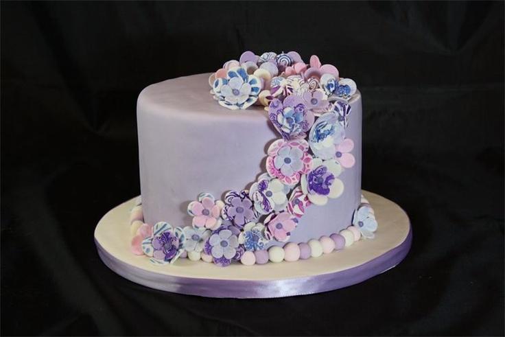 11 Single Layer Fondant Flower Cakes Photo Purple Single Layer