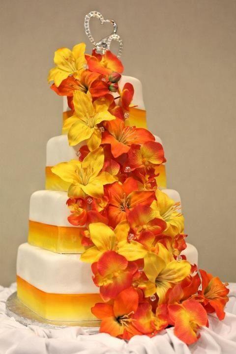 13 Fall Colored Yellow Cakes Photo - Fall Wedding Cake, Autumn Fall ...