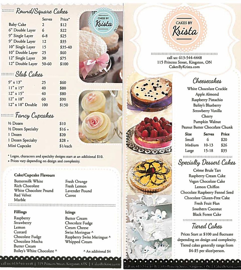 Bakery Cake Prices List