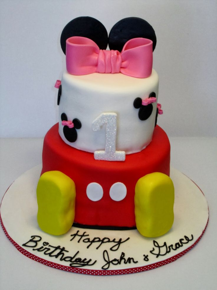 12 Simple Mickey And Minnie Birthday Cakes Photo Mickey And Minnie