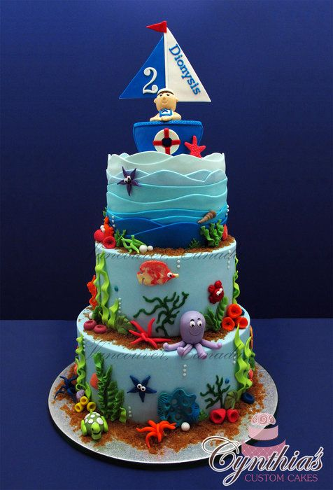 Fantastic 12 Birthday Cakes With Ocean Theme Photo Ocean Themed Cakes For Funny Birthday Cards Online Aeocydamsfinfo