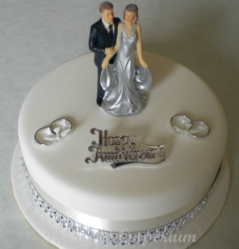 12 Silver Anniversary Cakes With Ribbons Photo Silver 25th Wedding