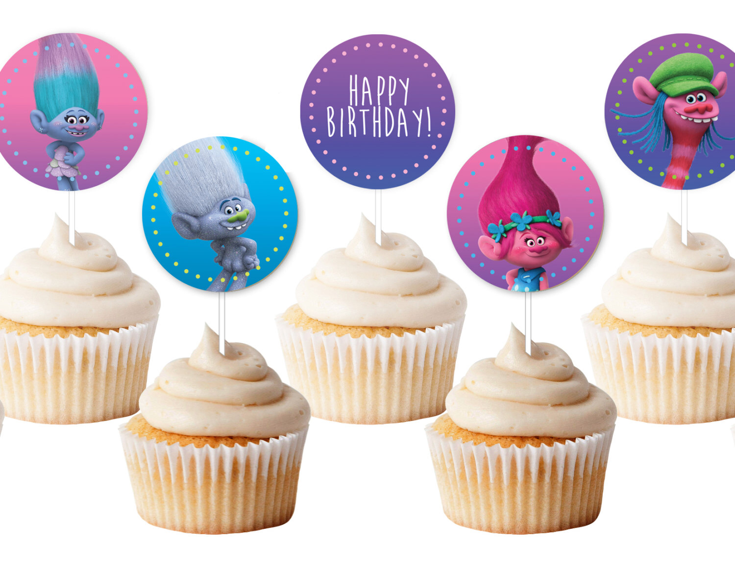 Trolls Birthday Cupcakes Toppers