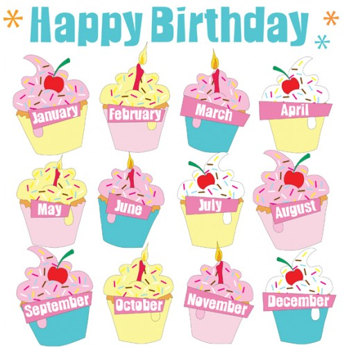 Free Printable Cupcake Birthday Chart Months