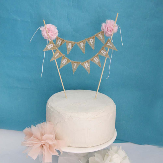 Happy Birthday Banner Cake Topper Burlap