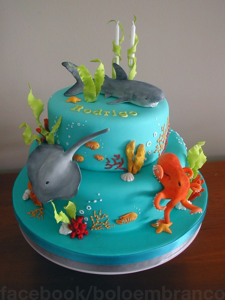 9 Ocean Beach Themed Birthday Cakes Photo Aqua Beach Wedding Cake