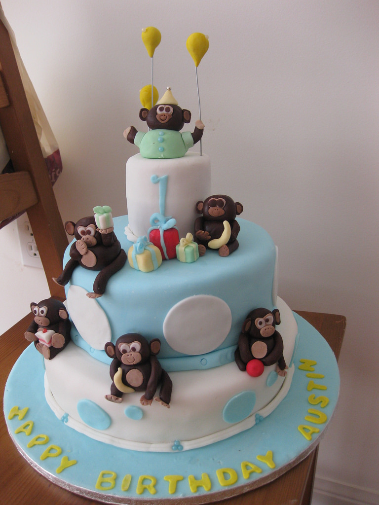 Sensational 12 Monkey 1St Birthday Boy Birthday Cakes For Baby Photo Baby Personalised Birthday Cards Veneteletsinfo