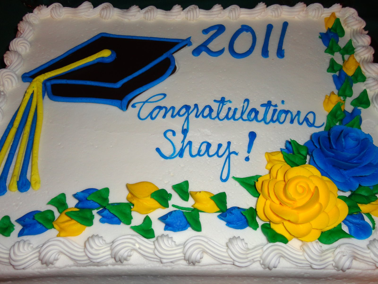 Graduation Sheet Cakes With Chocolate Blue And Gold Frosting