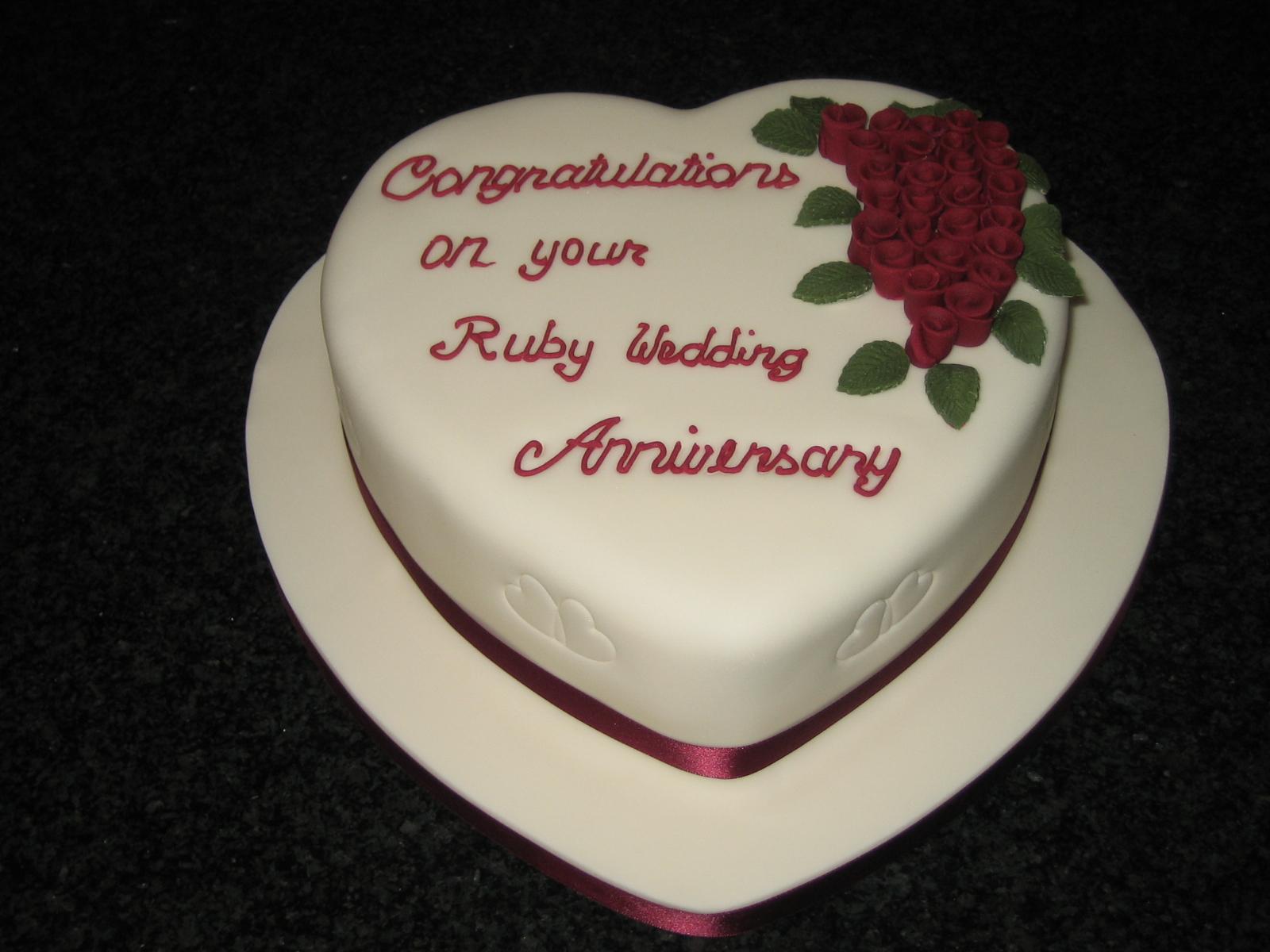 Heart shaped th anniversary cakes photo heart shaped