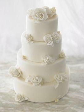 6 White Roses With Box Shaped Wedding Cakes Photo White Wedding