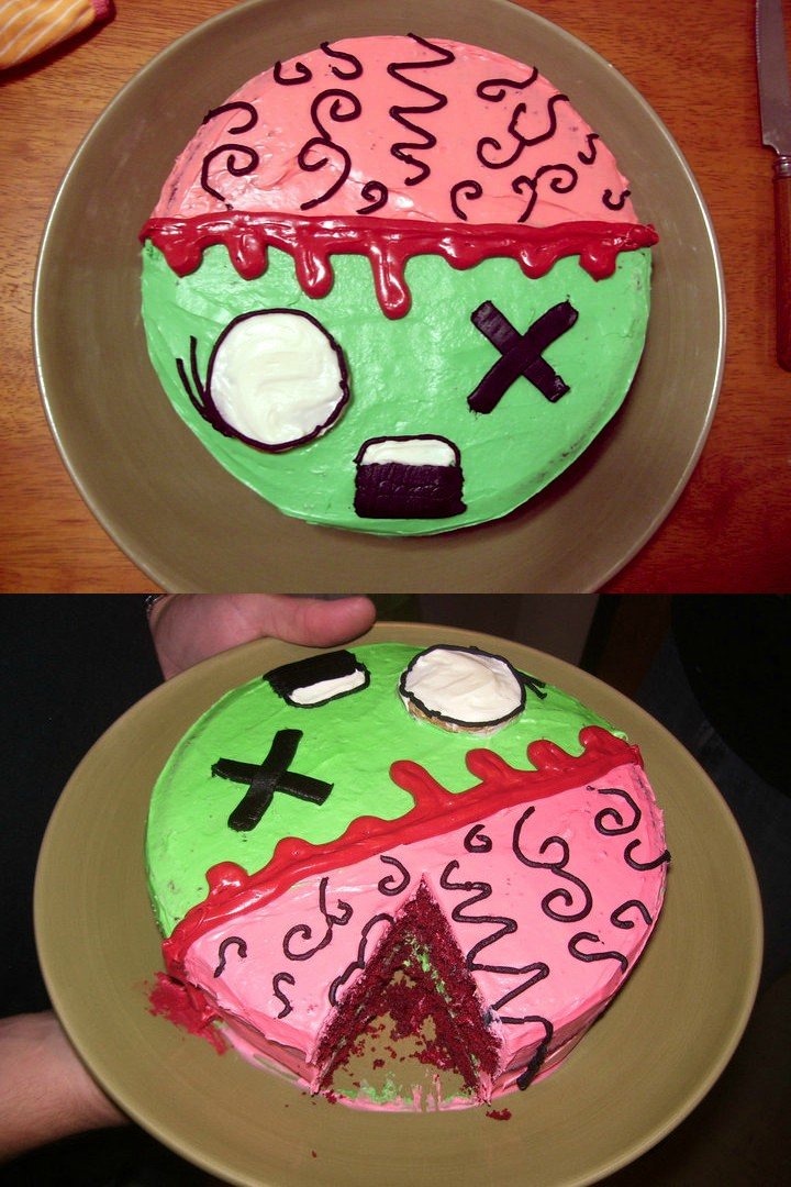 Enjoyable 11 Simple Zombie Cakes Photo Zombie Cake Ideas For Kids Easy Personalised Birthday Cards Veneteletsinfo