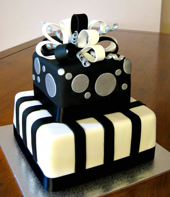 10 Black Silver White And Blue Birthday Cakes Photo