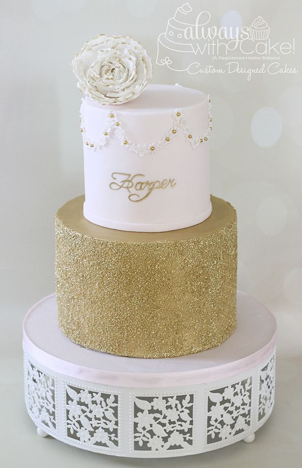 11 Baby Shower Cakes With Gold Photo Blue And Gold Baby Shower