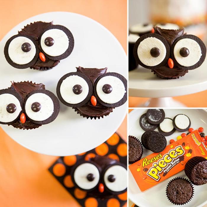 7 Halloween Owl Cupcakes With Oreos Photo Owl Cupcakes with Oreos