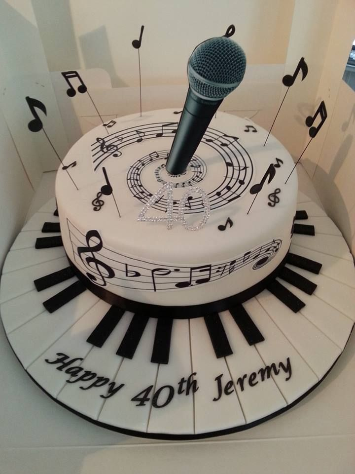 Microphone Birthday Cake Music