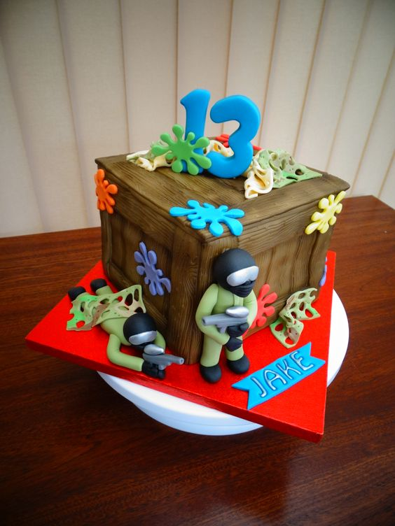 Magnificent 5 Paintball Themed Birthday Cakes Photo Paintball Birthday Cake Birthday Cards Printable Giouspongecafe Filternl