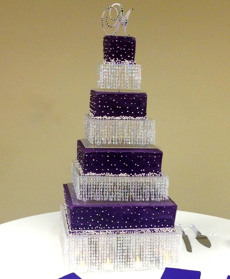 Purple And Silver Wedding Cake Bling