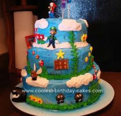 Amazing 9 Homemade Super Mario Brothers Cakes Photo Super Mario Brothers Funny Birthday Cards Online Elaedamsfinfo