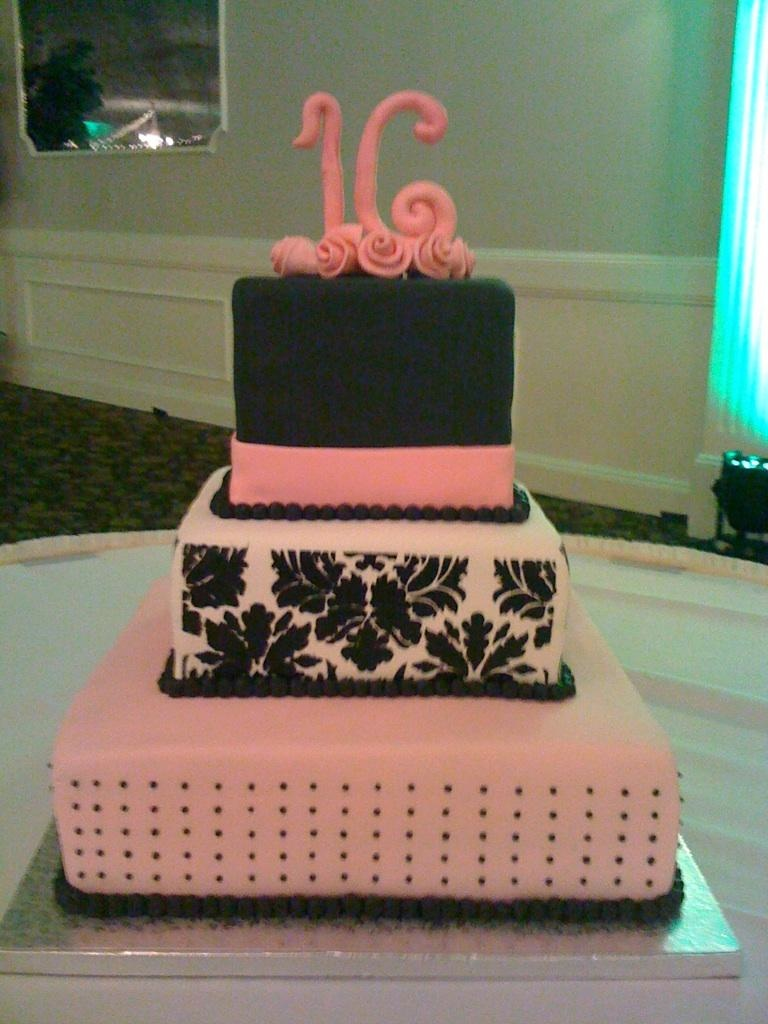 13 Sweet Sixteen Square Cakes Photo Pink and Gold Sweet 16
