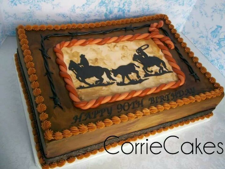 Astounding 7 Western Birthday Sheet Cakes Photo Western Sheet Cake Ideas Birthday Cards Printable Benkemecafe Filternl